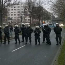 Polizeikette an der Münsterstraße in Dortmund